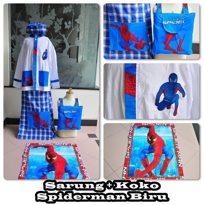 Sarung + Koko motif kartun spdm, Biru (Size M)