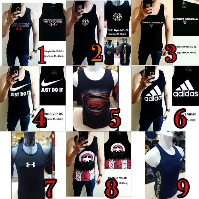 Singlet Lekbong Kaos Baju Fitness Fitnes Gym Underarmour Under Armour