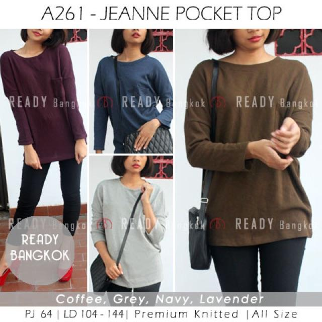 JUAL RUGI!! SALE PROMO JEANNE POCKET TOP IMPORT BANGKOK HIGH QUALITY ATASAN RAJUT KNIT WANITA
