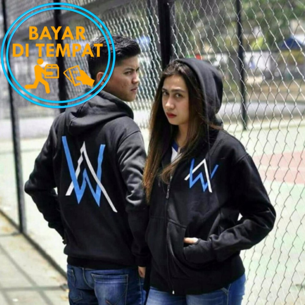 Spesifikasi Jaket Sweater Couple Alan Walker Black Logo Blue White Merk Music