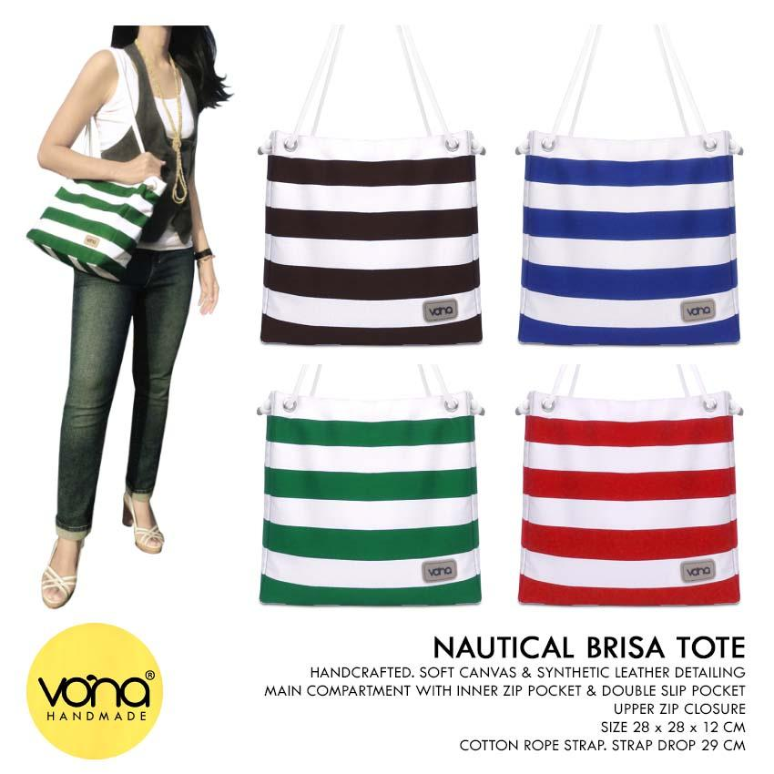 VONA Brisa (Hijau Putih) - Tote Beach Bag Tas Wanita Bahu Shoulder Casual Handbag Beach Kanvas Garis Strip