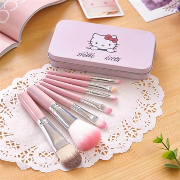 Make Up Brush 7 Pc Kitty Kuas MakeUp - Professional Foundation Lip Eyeshadow Shader Brush Cosmetic - Pink - 2