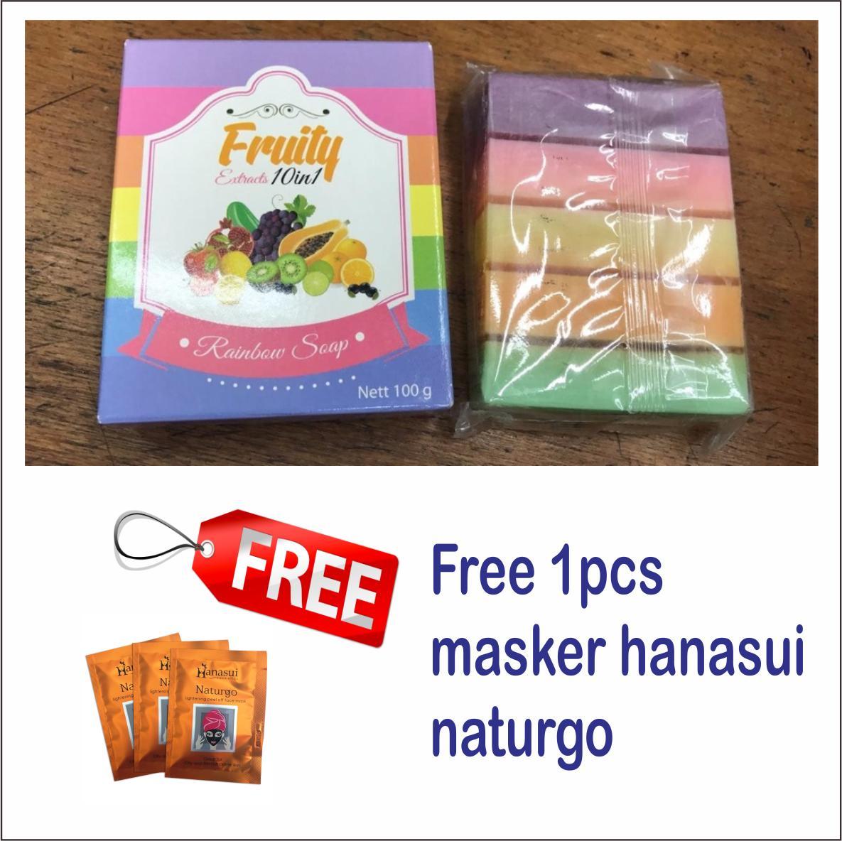 Fruity Rainbow Soap 10 in 1 Whitening Soap Fruitamin Original Sabun Pemutih Badan BPOM - free
