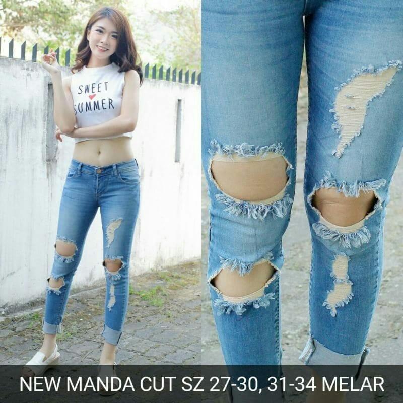 Celana panjang jeans sobek skinny Jombo Big ripped murah wanita