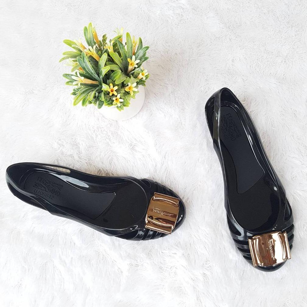 Jelly Shoes Wanita - Sepatu Flat Wanita Jelly Import Italy ID30 Warna Metalik