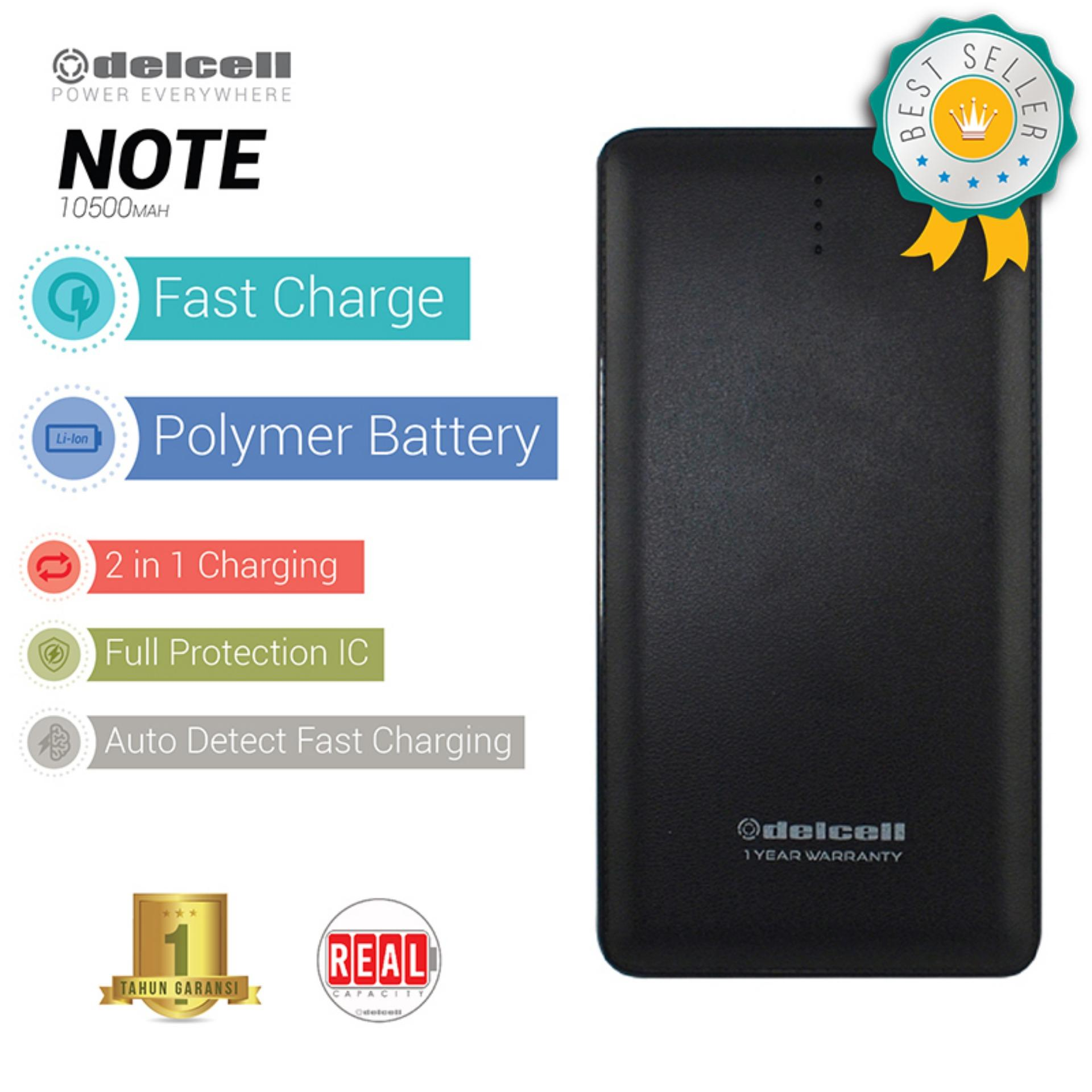 Delcell NOTE Powerbank 10500mAh Real Capacity Fast Charging Polymer Battery - Hitam