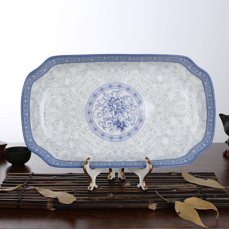 ... mangkok kreatif set alat makan. Source · ZHU LU Keramik rumah tangga Persegi Panjang porselen tulang hidangan ikan dalam piring Piring Mangkuk sup