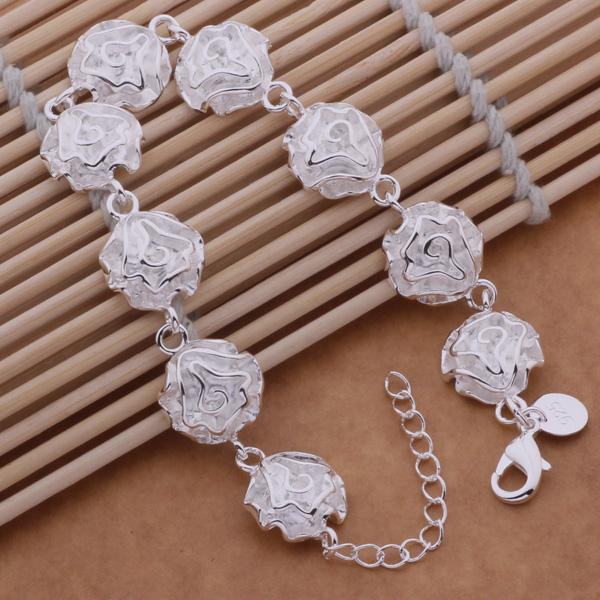 Diskon Promo Perhiasan Aksesoris Gelang Sterling Silver 925 Lapis Perak Perhiasan Wanita Bunga BB006 Murah