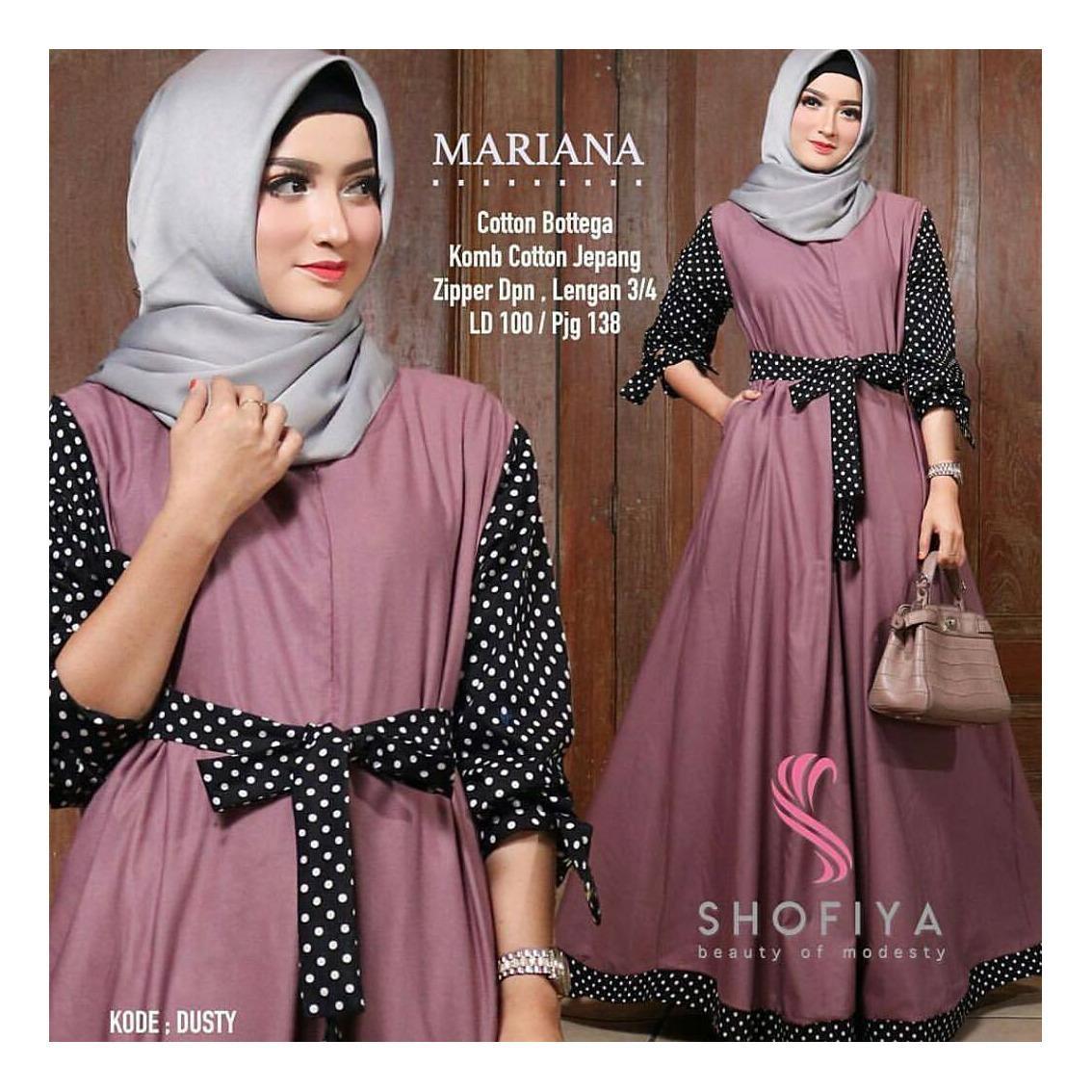 OEM Baju Original Mariana Polka Dress Balotely Gamis Panjang Wanita Muslim  Pakaian Cewek Gaun Muslimah Hijab 831a6c7fbe
