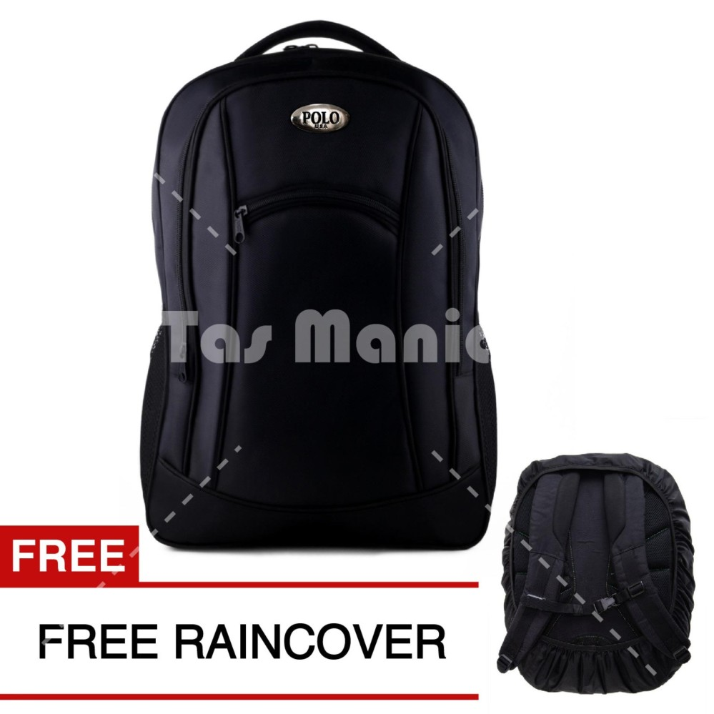 Polo Campus BLACK BOMBER Laptop Backpack + FREE Raincover 111
