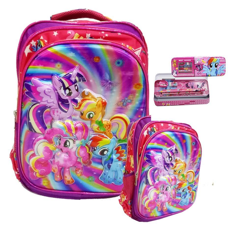 Diskon Onlan My Little Pony 5D Timbul Hologram Tas Ransel Sd Ukuran Kantung Besar Kotak Pensil Pink Onlan