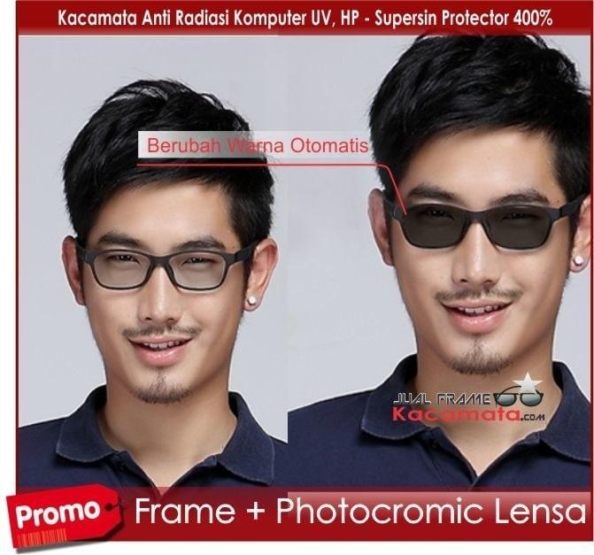 Lensa Photocromic + Kacamata Korea Minus |Frame + Photochromic
