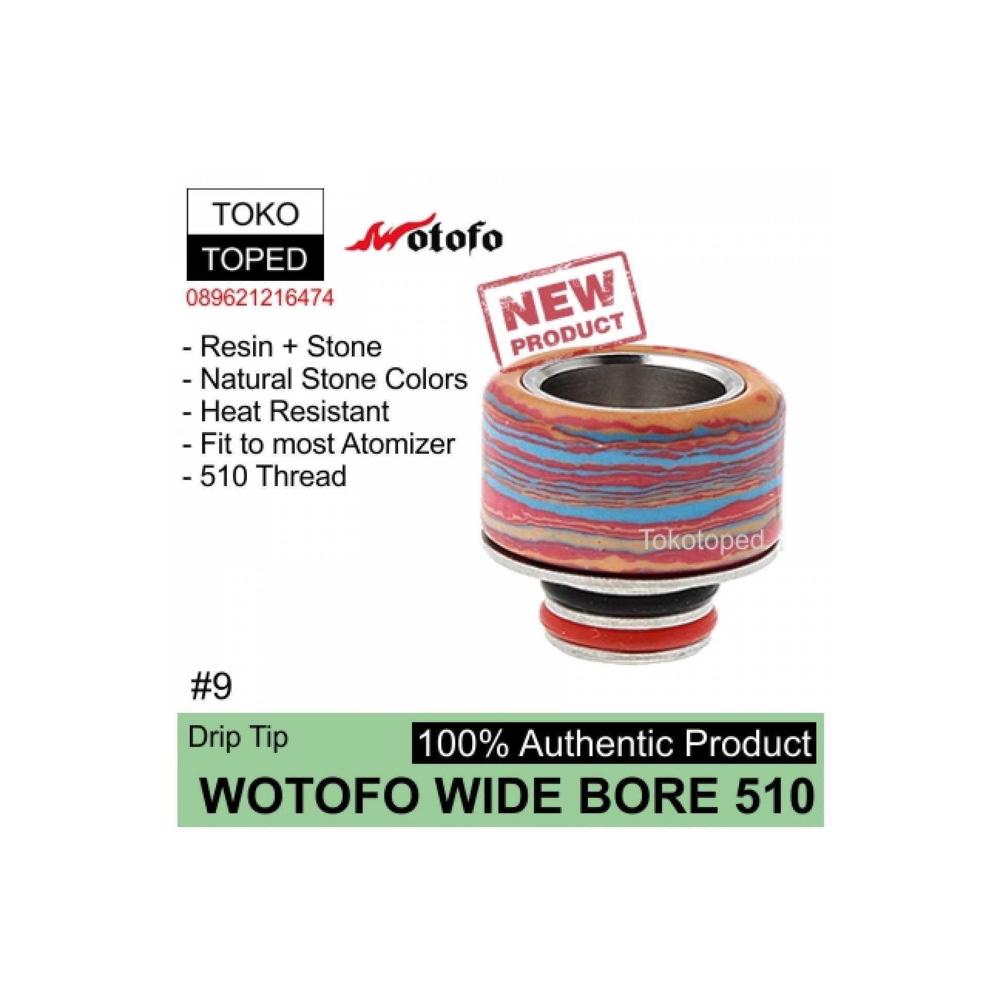 Fitur Authentic Wotofo Wide Bore 510 Drip Tip 9 Driptip Resin Geekvape Peerless 24mm Rda Atomizer Vape Rdta