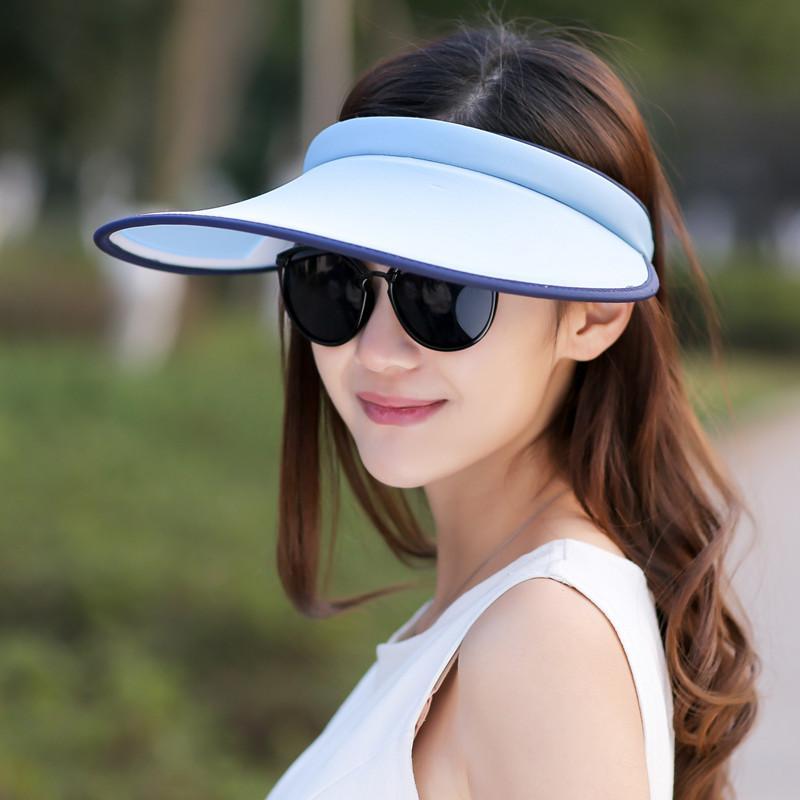 Matahari Topi Korea Fashion Style Musim Panas Topi Pantai Pelindung Terik  Matahari Kosong (Deep Purple) fec5bf4735