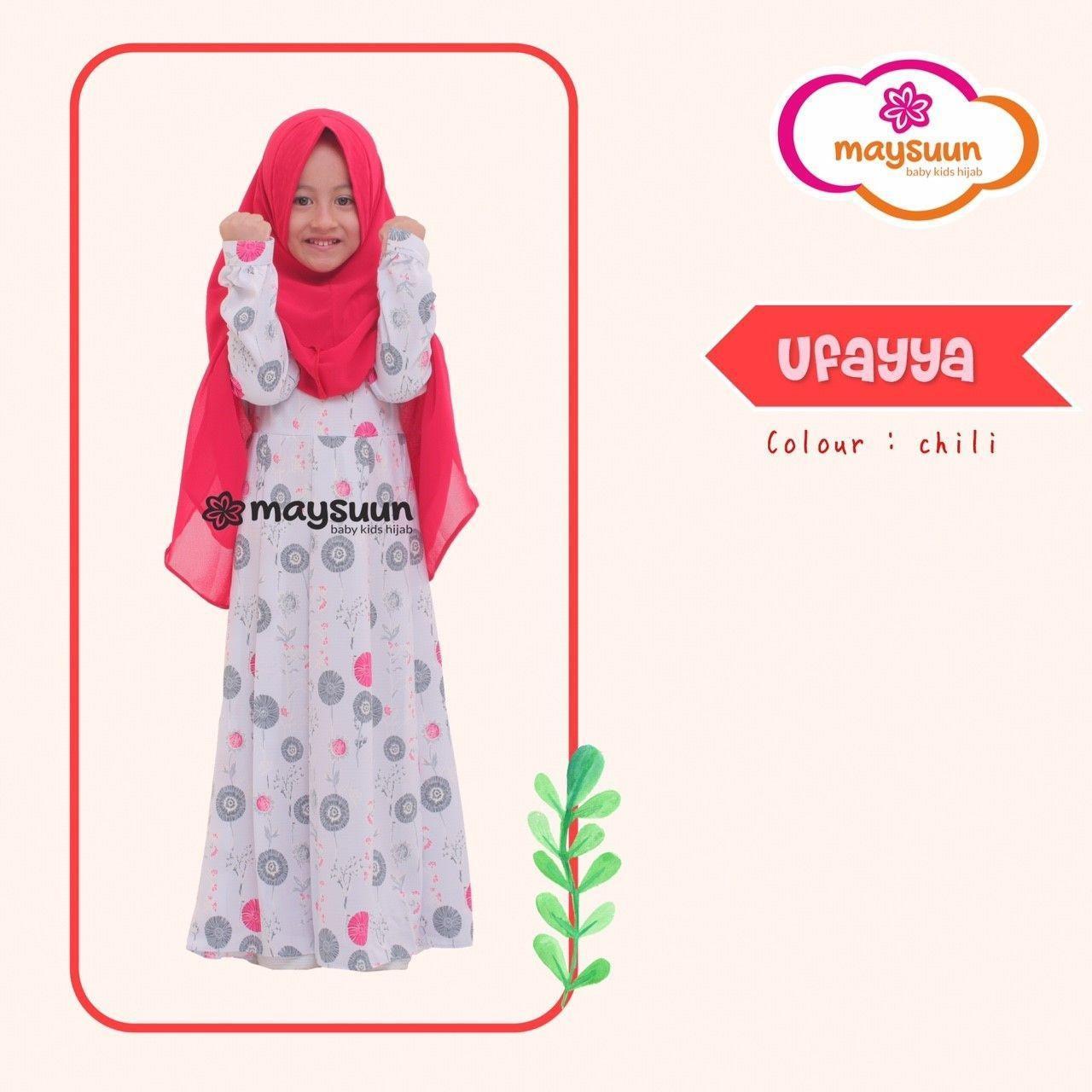 TERLUCU !, Fairuz HIjab, Baju Gamis Anak Perempuan syari, Baju Muslim Anak Branded Murah Warna Merah , Uffaya Series