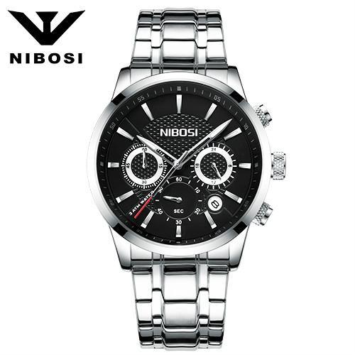 Men's Fashion Business Quartz Watch Metal & Leather Band NIBOSI Chronograph Waterproof Date Display Analog Sport