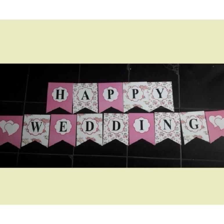 BUNTING FLAG BANNER HAPPY WEDDING