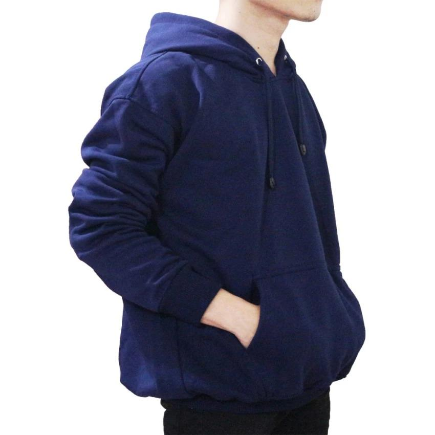 Review Comfy Jaket Sweater Polos Hoodie Jumper Biru Navy Unisex Comfy Di Dki Jakarta