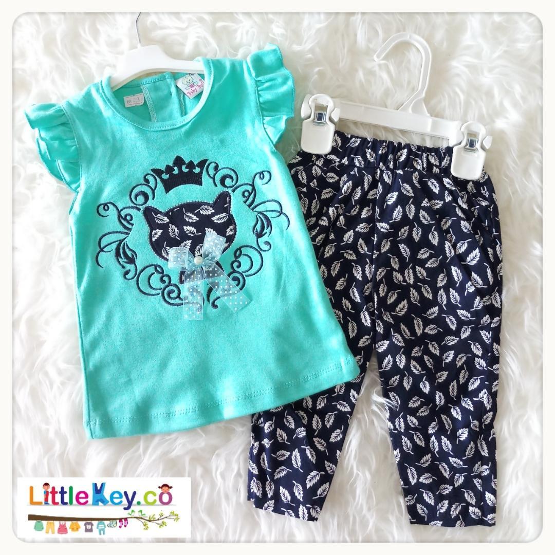 Fitur Littlekey Setelan Baju Bayi Perempuan Kaos Raffle Celana Panjang Katun S Size 1