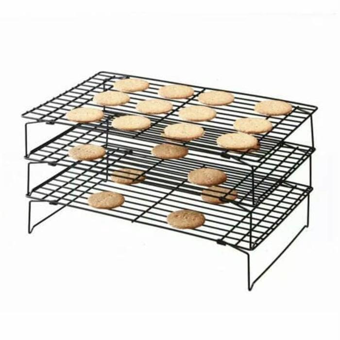 Rak Pendingin Kue Cake Roti Tingkat 3 Susun Cooling Rack Cabinet Dapur - Ljdhoc