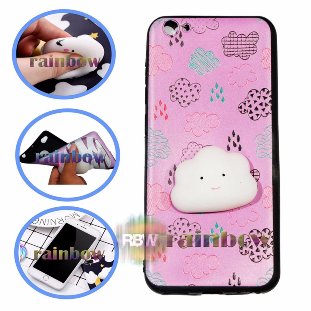 Rainbow SQUISHY Case Oppo A57 Squishy Cloud Pinky / Custom Case Squishy For Oppo A57 / Case Silikon 3D Squishy  Oppo A57 / Squeeze Softcase 4D Silicone Boneka Unik / Casing Oppo - Awan
