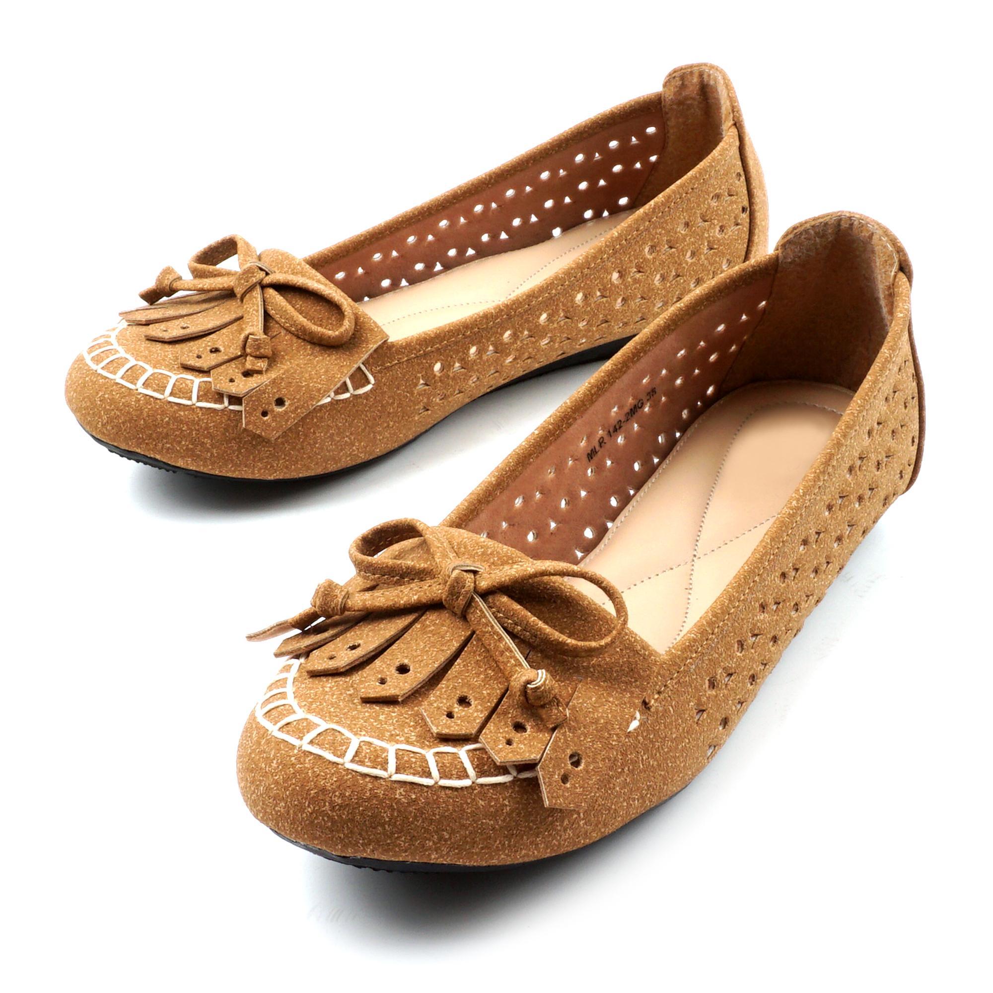 Pluvia - Sepatu Flat Shoes Wanita Terbaru MLR-MG02 - Navy / Cream / Tan