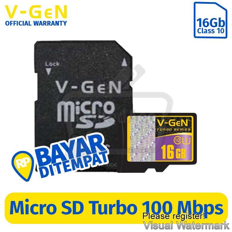 Memory V-gen Memory Card Micro SD 8 GB Class 10 Turbo .