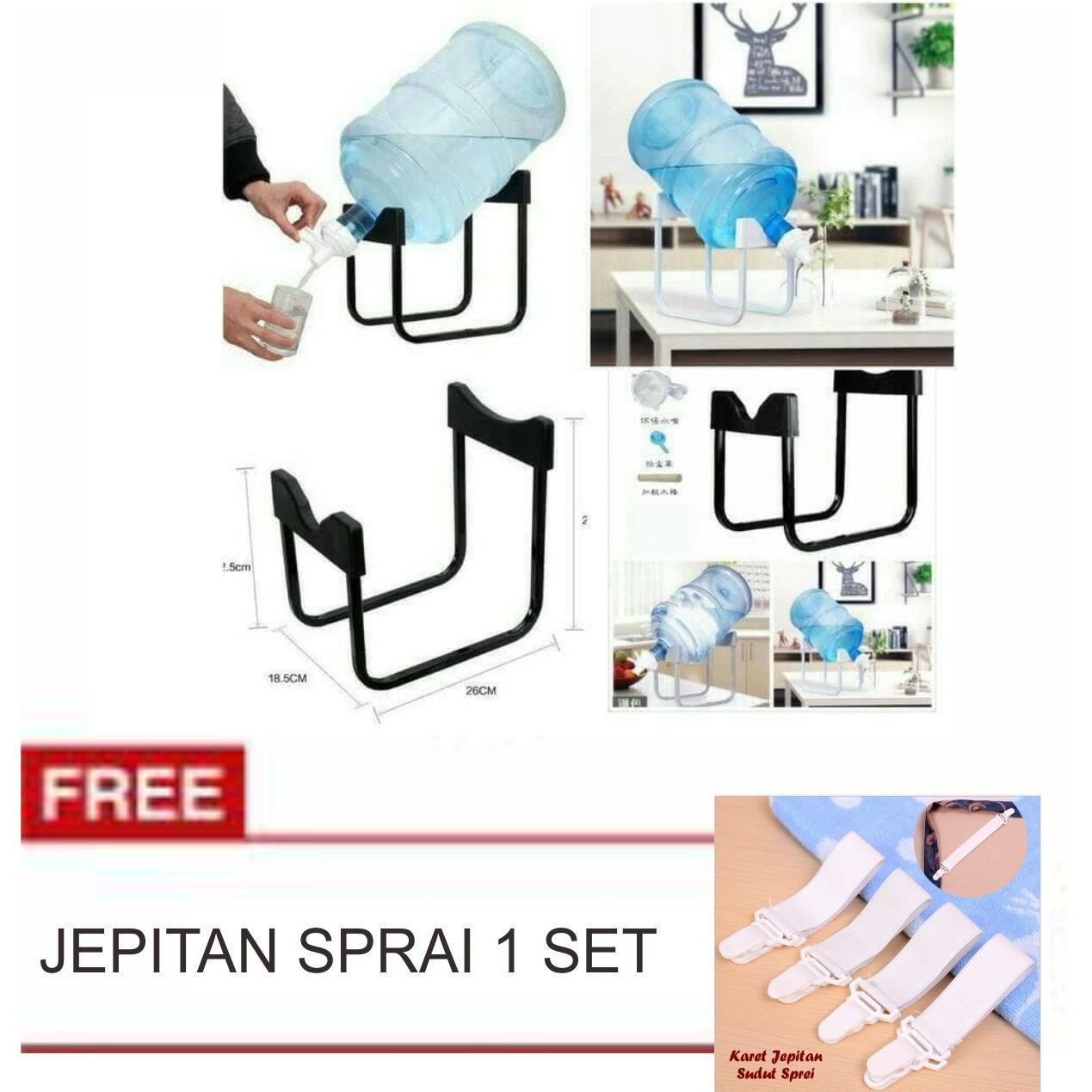 Lanjarjaya Rak Galon Tatakan Galon + Kran Air Galon / Dispenser Air Galon / Dispenser Minuman / Tatakan Aqua / Rak Besi Warna Random+jepitan sprai