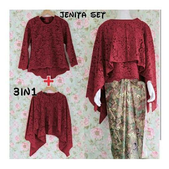 Honeyclothing Setelan Kebaya Wanita Janesa - Merah / Kebaya Kutubaru / Setelan Batik / Baju Wanita / Best Seller