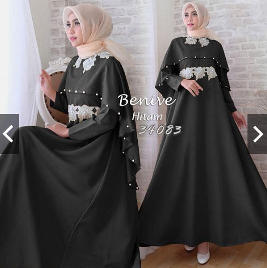 TotallyGreatshop Gamis Syari Pesta Premium Payet Mote Mutiara Bordir Cape Payet Cantik Fashion Baju Kondangan Gaun