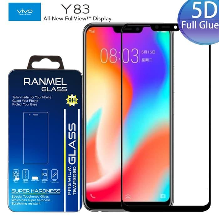 Tempered Glass 5D 9H Vivo Y83 Hitam Black Full Glue Cover Protection Screen Guard Anti Gores