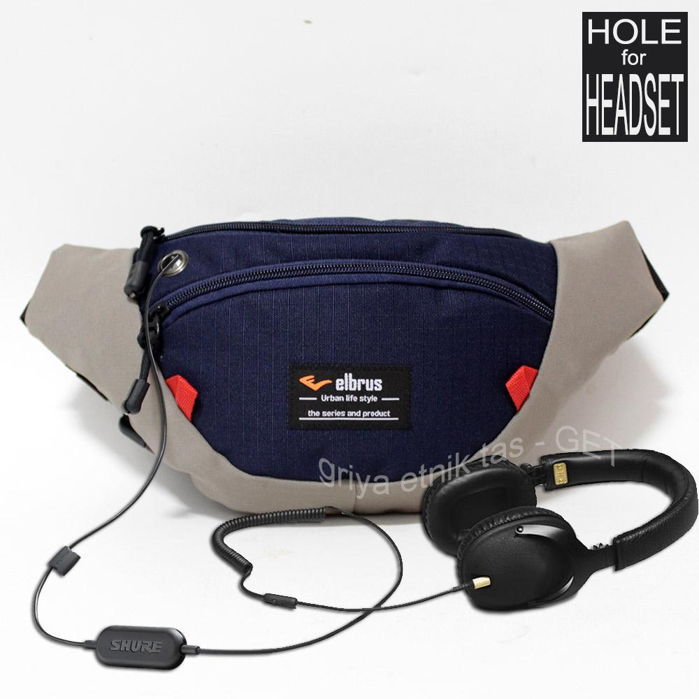 Fitur Waist Bag Pria Wanita Distro Elbrus Original Headset Hole Tas Lenovo Detail Gambar Pinggang Cowok Terbaru Dada Laki Slingbag Punggung