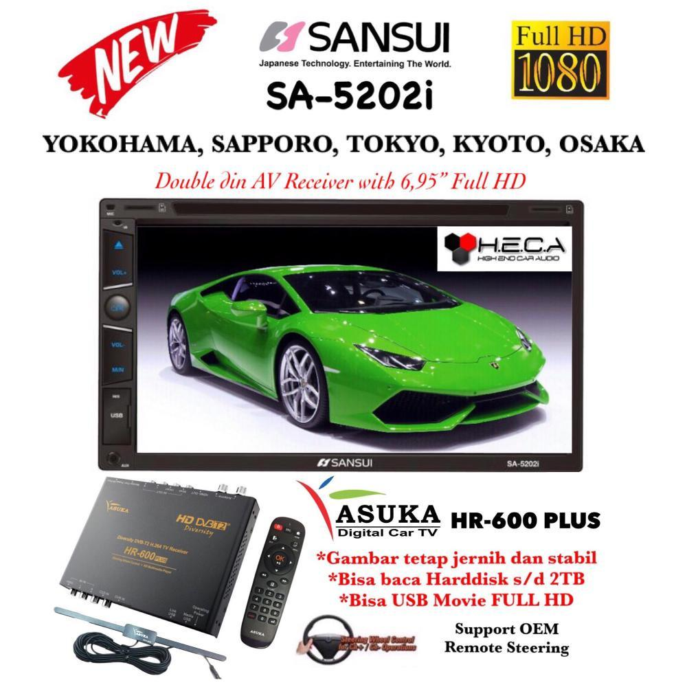 Paket Promo SANSUI SA-5202i FULL HD SA5202i MKV Head Unit Tape Double din Tv Audio Mobil & ASUKA HR-600 Plus TV Tuner Digital