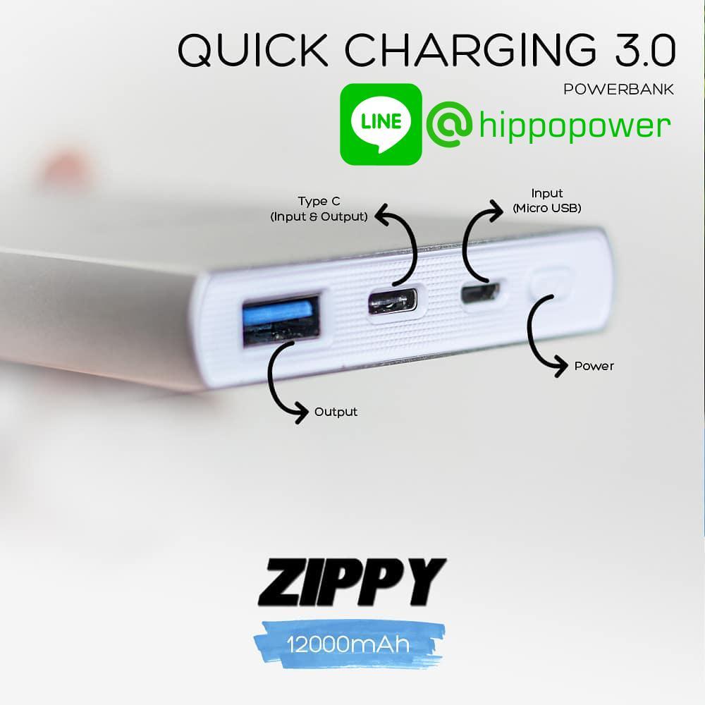 Fitur Hippo Powerbank Zippy 12000 Mah Quick Charging 3 0 Dan Harga Adaptor Charger Fast 30 Simple Pack Hitam