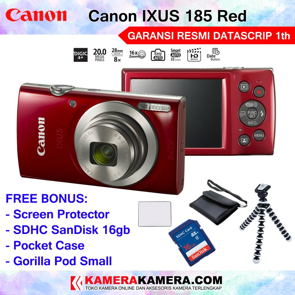Canon IXUS 185 Pocket Camera 20 MP 28mm Wide 8x Optical Zoom Resmi Datascrip + SanDisk 16GB + Screen Protector + Pouch + Gorilla Pod Small