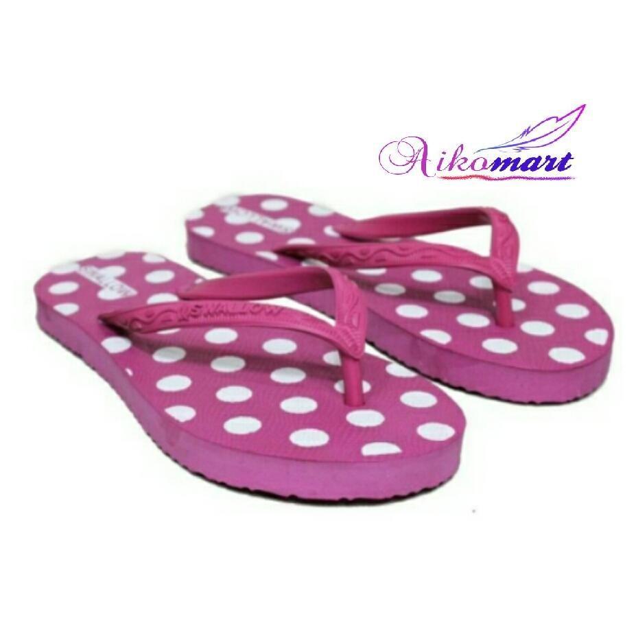 Aikomart Sandal Jepit Wanita Swallow Nice Polkadot Warna Pink Size 9,5
