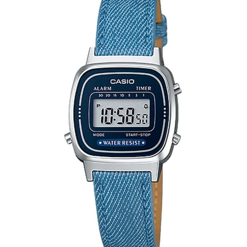 CASIO LA670WL-2A2DF - Digital - Illuminator - Jam Tangan Unisex - Bahan Tali Denim Look Like Leather - Blue