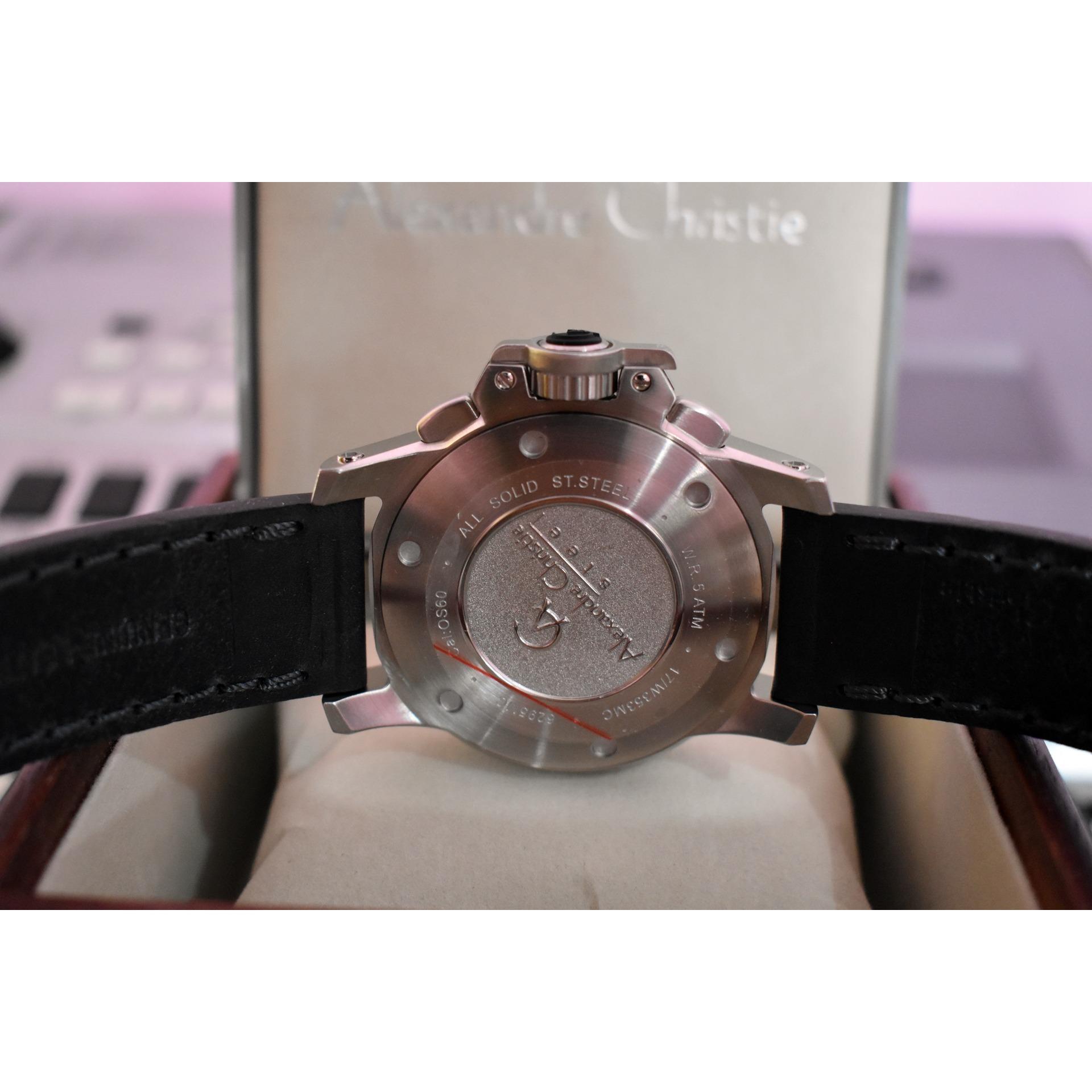 Fitur Jam Tangan Alexandre Christie Ac 6295 Mc Ac6295 Silver Black 6141 Full Original Leather 5