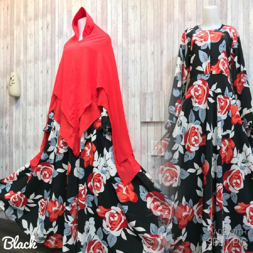 Toko Adzra Gamis Murah Syar I Busana Muslim Wanita Denara Dress Merah Online Terpercaya