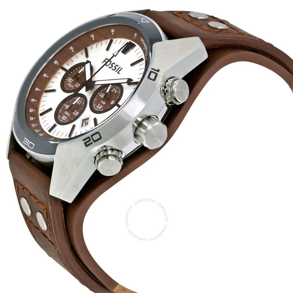 Fossil CH2565 Coachman Chronograph White Dial Brown Leather Strap - 2