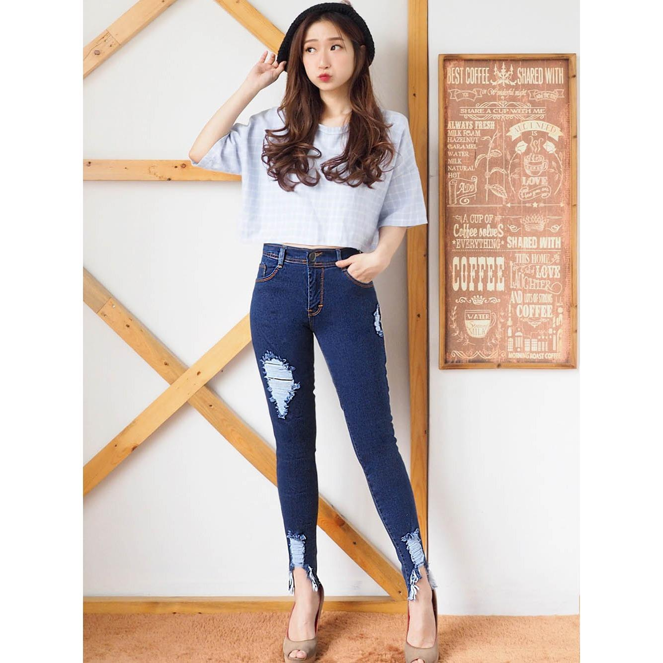 Review Terbaik Ancien Store Celana Ripped Jeans Skinny Kombi Korea Cb Best Seller Good Quality