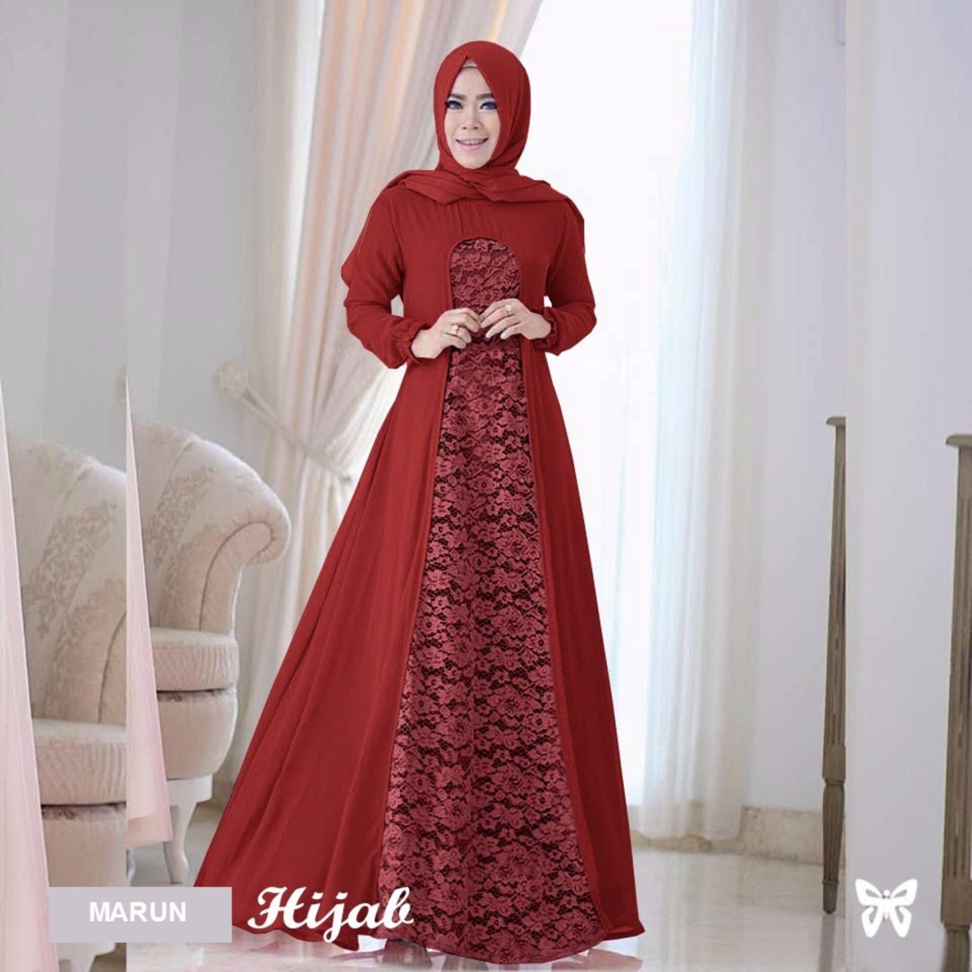 Sera Outfit Maxi Dress Lengan Panjang Set 2 in 1 MSR055   Gamis Syari   Gaun 83664b48f7