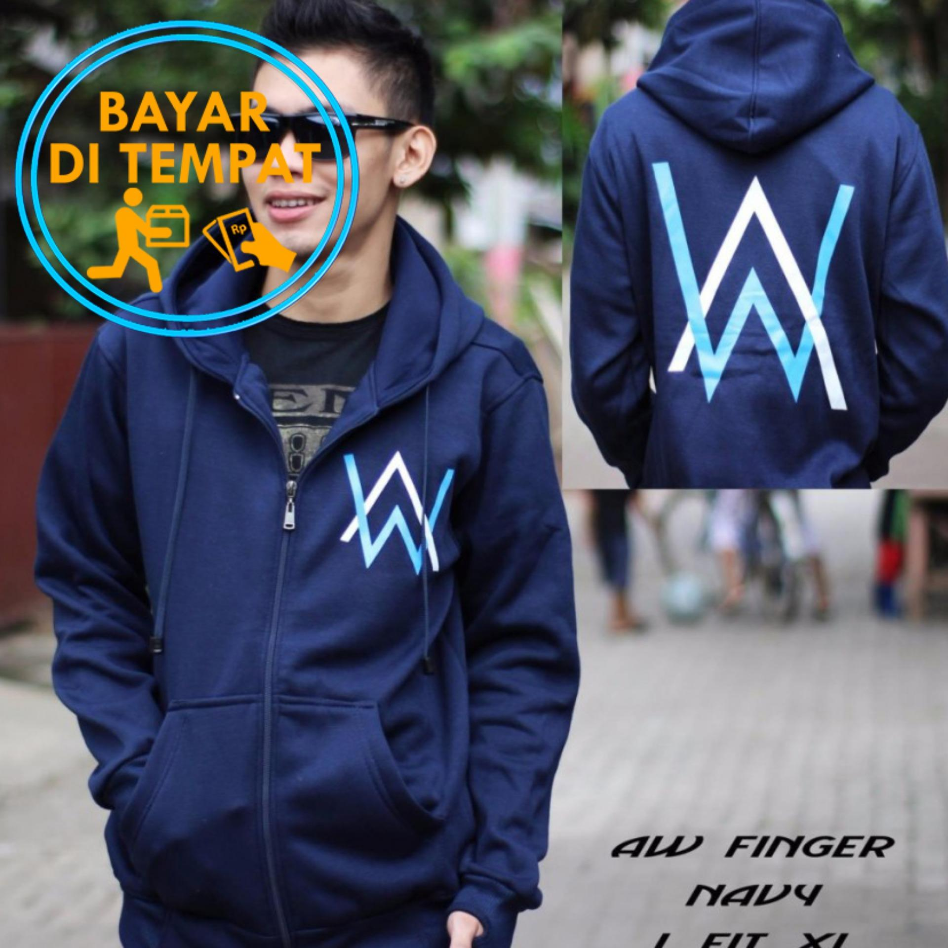 Review Jaket Murah Hoodie Zipper Alan Walker Navy Logo Blue White Music