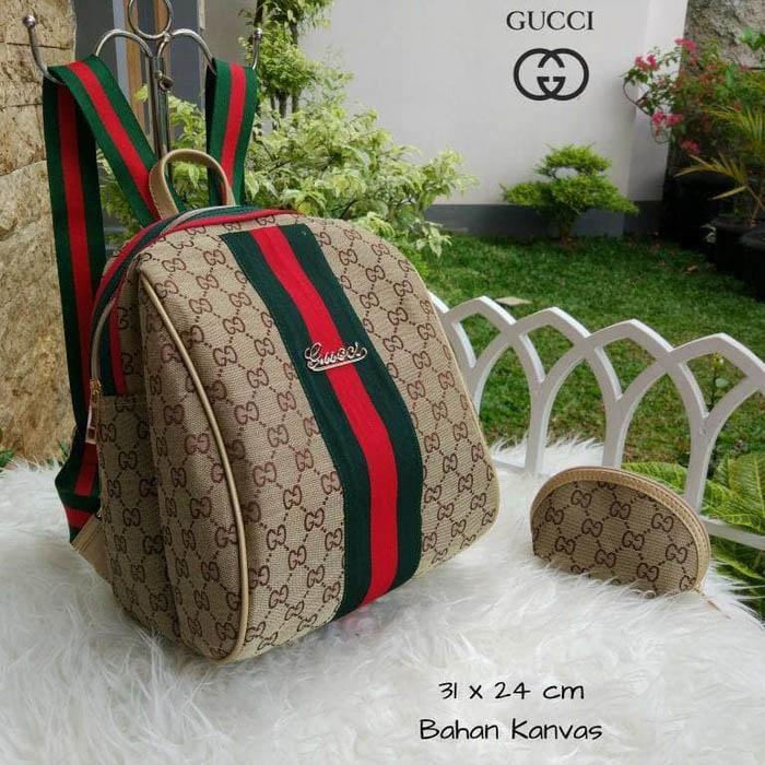 Tas Wanita Ransel Gucci Keren Lagi Hits Hotlist Kanvas Backpack Krem