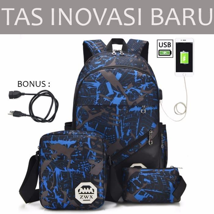 TAS 3 IN 1 BACKPACK PUNGGUNG RANSEL PORT USB POWER BANK - 2 ...