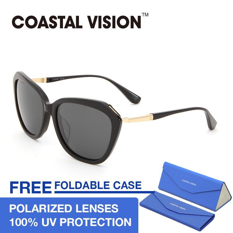 Beli Coastal Vision Kacamata Polarized Wanita Hitam Cat Eye Lensa Anti Uva B Cvs5028 Lengkap