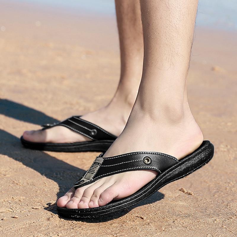 Fitur Kulit Pria Sandal Jepit Pantai Sandal Jepit Hitam Dan Harga ... 2c32669d1e