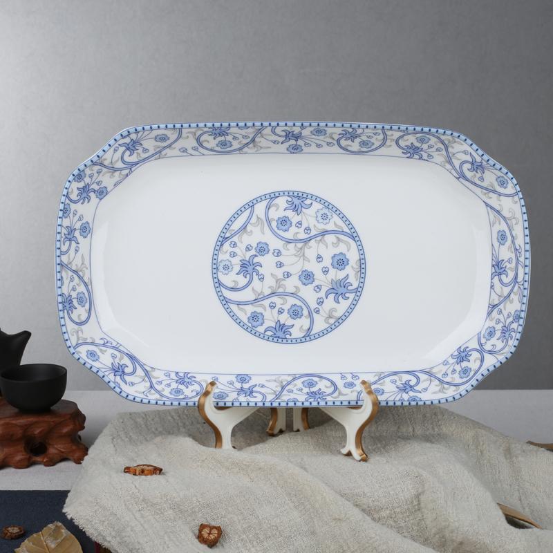 ZHU LU Keramik rumah tangga Persegi Panjang porselen tulang hidangan ikan dalam piring Piring Mangkuk sup
