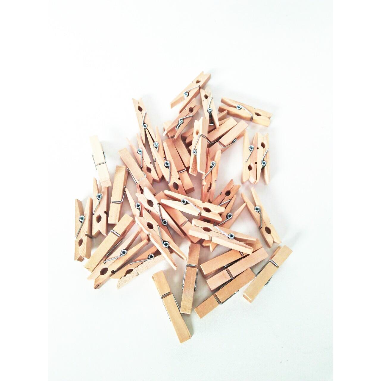 Warna natural kayu Wooden Clip wood clothes pin Craft isi 40 pcs ukuran 4.5 cm - Penjepit kayu jepit foto