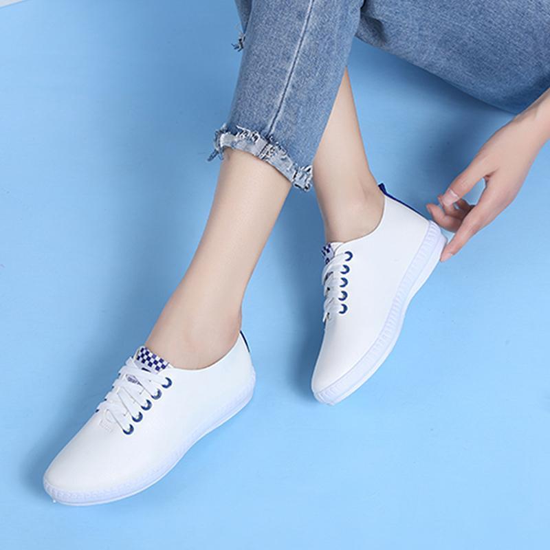 2018 model baru Kulit sepatu putih kecil wanita musim semi netral Gaya Korea  tali sepatu Sepatu 06c404e04a